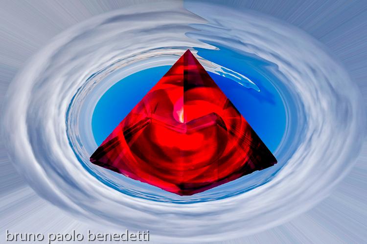 piramide rossa nel cielo: l'opera al rosso terzo stadio dell'alchimia rappresentazione simbolica