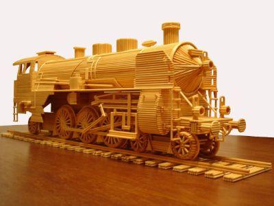 modello di locomotiva fatta con stuzzicadenti di marco pini