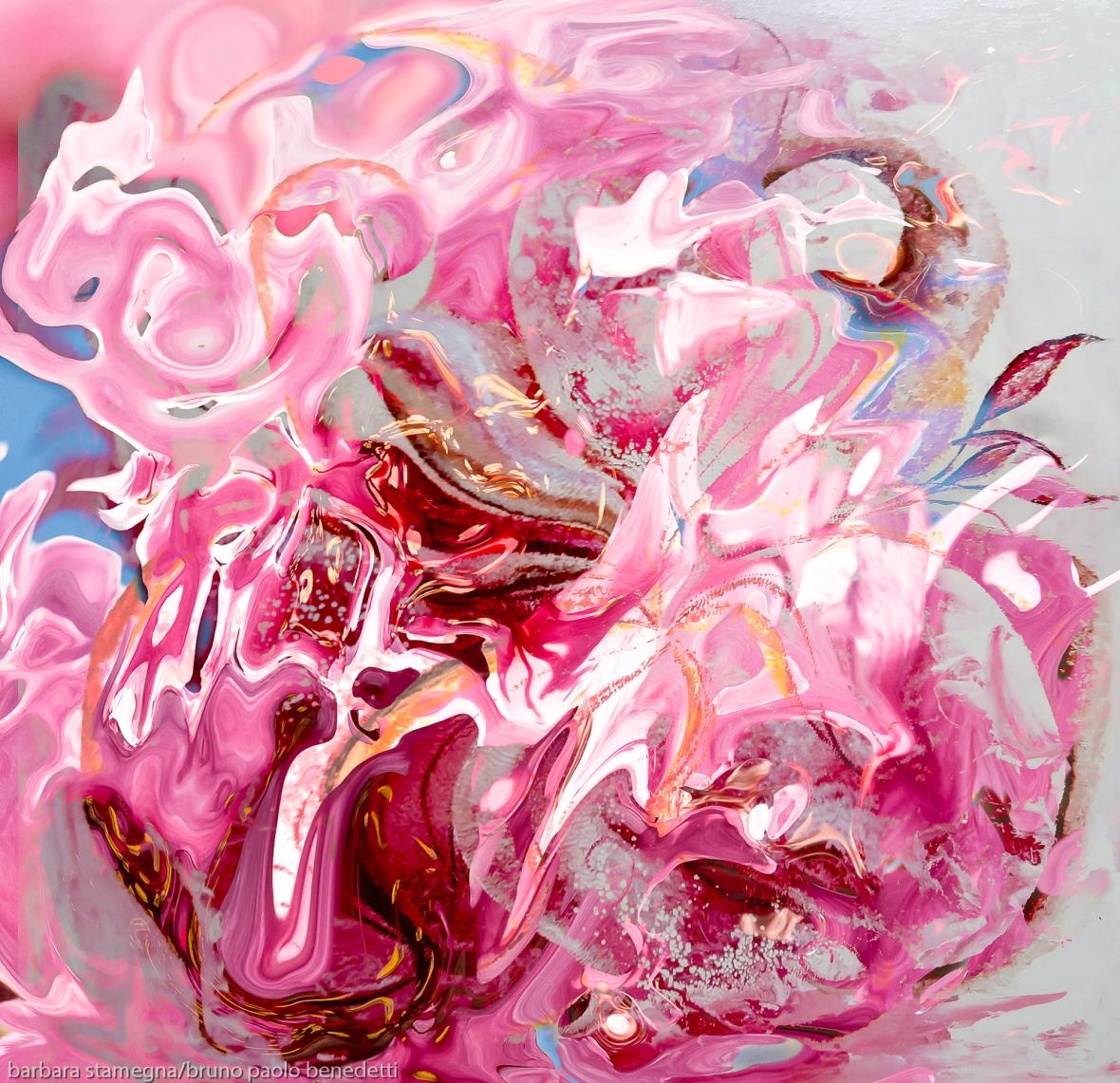 fotografia digitale e di pittura fuse in unica immagine di colore rosa