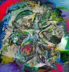 composizione multicolore astratta con screziature, opera di fotografia e pittura unite in un'unica immagine