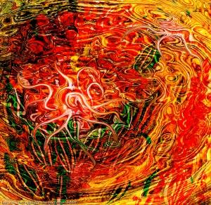 immagine di arte astratta con un movimento come di una energia fluida che si forma con una forma curva astratta al cenro in colore rosso dominante e toni gialli