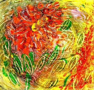 immagine astratta come una energia che si sprigiona da una astrazione di fiore con forme di foglia su sfondo screziato