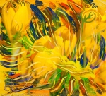 astrazione fiori gialli con linee fluide ricurve in toni di dominante di colore giallo