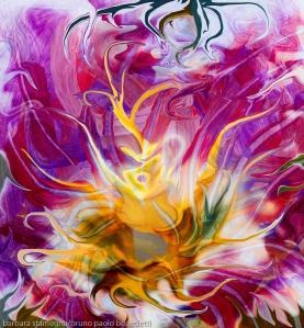 immagine colorata con al centro un fiore fluido astratto con molti colori