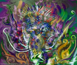 immagine colorata con forme fluide astratte e una forma centrale spinosa