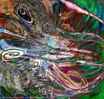 colori brillanti e forme concentriche in movimento e riccioli su sfondo screziato