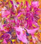 tema floreale astratto con forme simili a fiori con dominante di colore rosa e toni arancioni