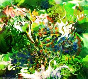 movimento di forme fluide astratte in colore verde dominante e toni bianchi