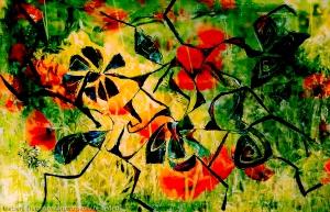 prato fiorito astratto giallo e verde con astrazioni di fiori rossi e su tema di forme astratte di fiori fluttuanti