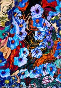 immagine di arte astratta con motivo floreale di forme di fiori di colore indaco su sfondo screziato