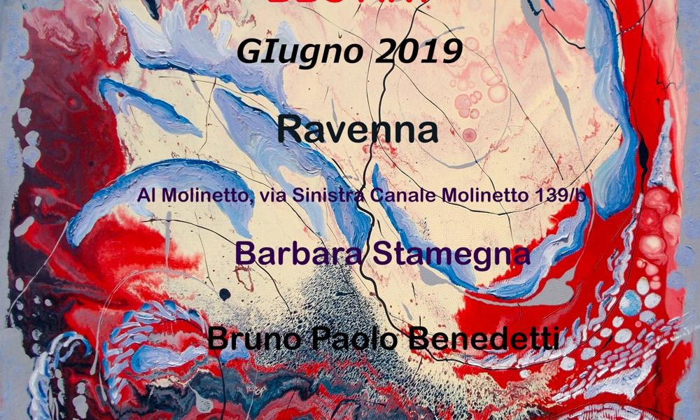 mostra dipinti astratti di Barbara Stamegna e arte digitale da foto di Bruno Paolo Benedetti a Ravenna giugno 2019 presso il Molinetto di Punta Marina