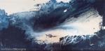 immagine astratta blu con visione di una figura come di un vortice fra cielo e mare di colore blu scuro,bianco e toni bianco crema con sfumature