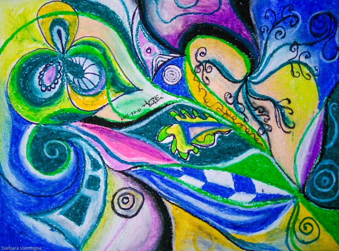 forme dinamiche astratte in movimento con dominante di colore blu e toni verdi con forme concentriche,riccioli e linee spezzate con toni multicolore