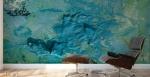 stampa murale adesiva astratta con tema che richiama un vortice marino con striature gialle ambientata in uno studio