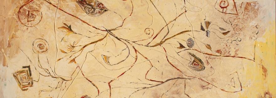 tema astratto con fili e forme geometriche triangolari,rettangolari con riccioli in sfumature e tonalità di in colore giallo dominante