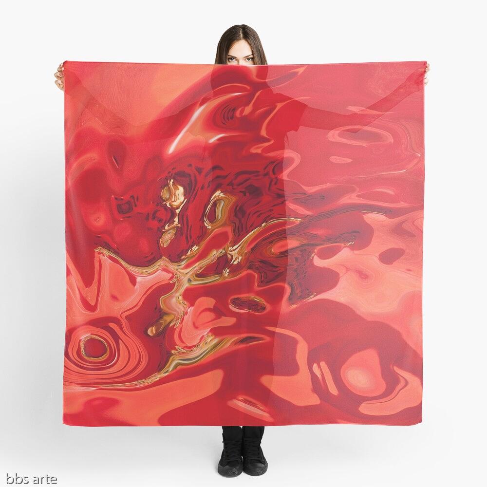foulard con tema astratto dai toni di rosso profondo con forme fluide, macchie scure e linee gialle