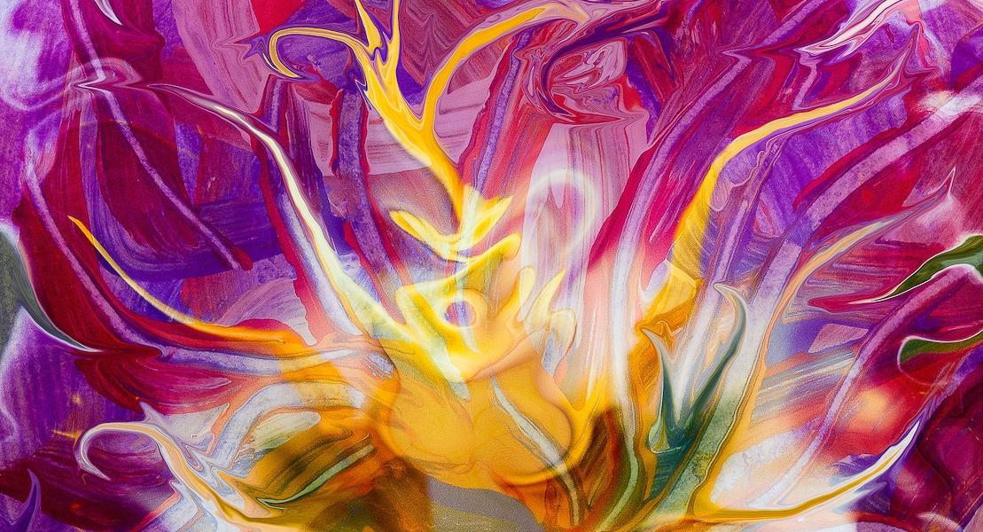 immagine di arte digitale frutto di fusione fra pittura e fotografia